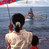 Boat delivers ashes to sea after a cremation ceremony, Bali, Indonesia.