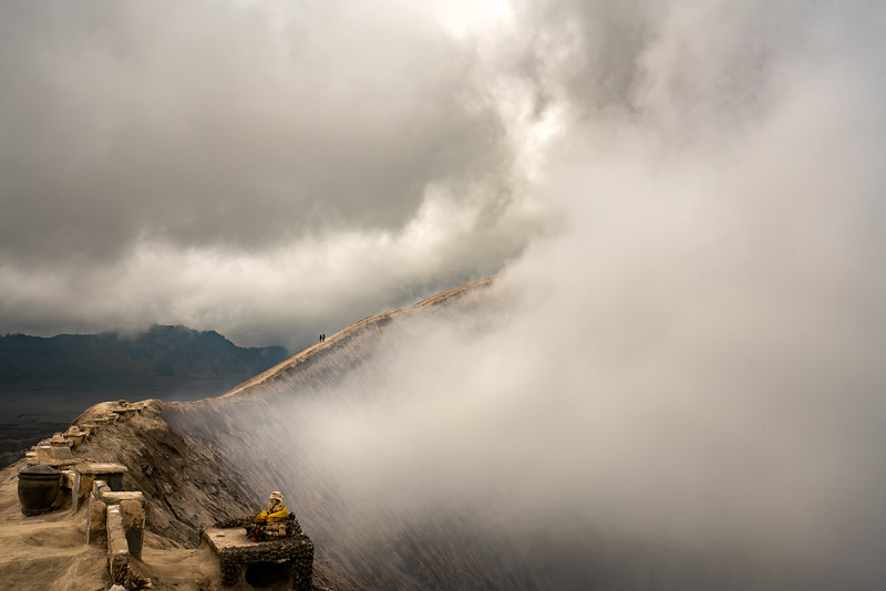 Walking the rim of Mount Bromo