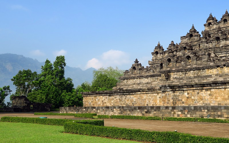 Visiting the temple of Borobudur.