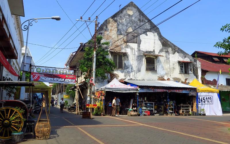 Old colonial buildings in Kota Lama, Semarang, Indonesia.