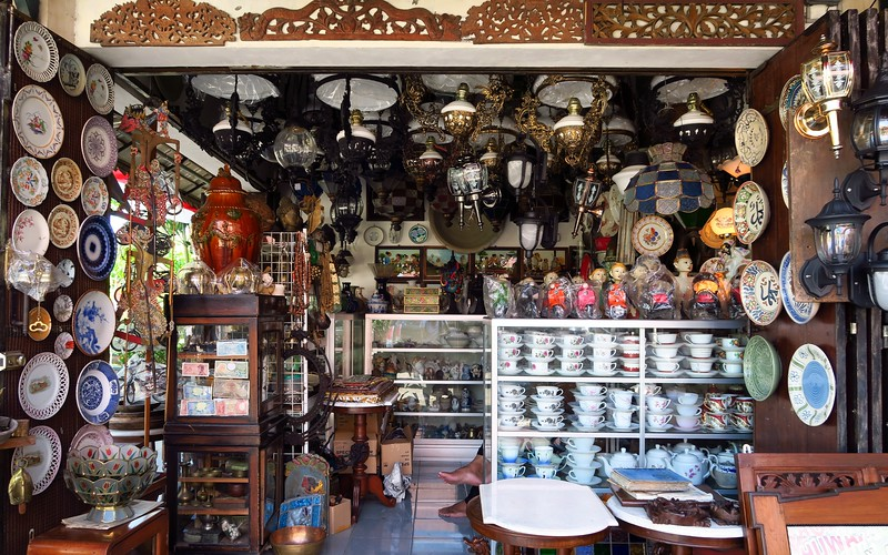 Shopping for antiques at Triwindu Market in Solo.