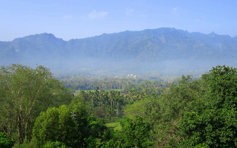 Views from the top of Borobudur Temple.