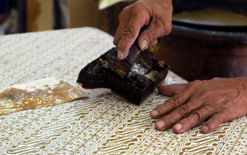 The workshop inside the House of Danar Hadi, where batik are made.