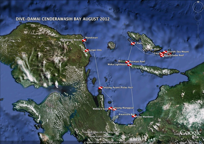 Cenderawasih Bay route map