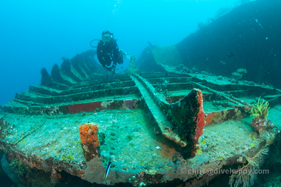 WWII Landing Craft Shipwreck, Pillbox Dive Site, Manokwari, Cenderawasih Bay Indonesia