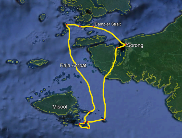 Raja Ampat liveaboard itinerary route map
