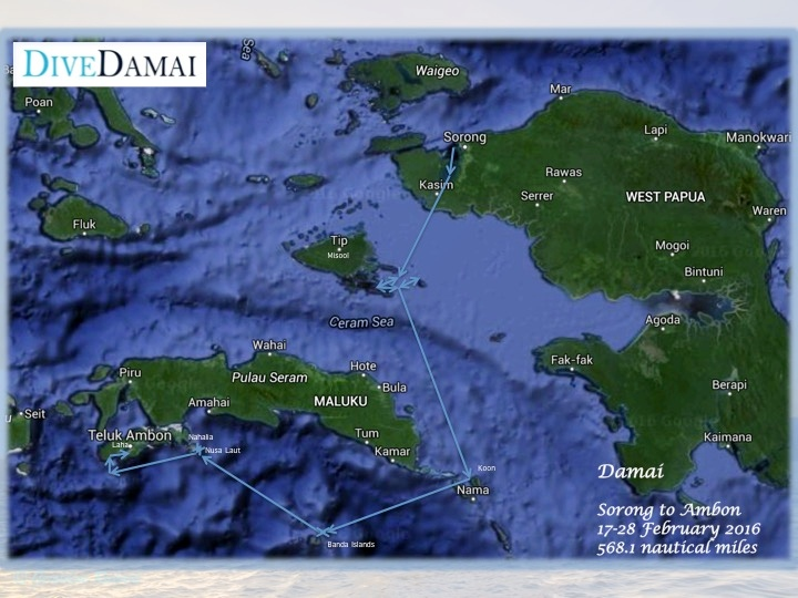 Raja Ampat to Banda Islands and Ambon liveaboard route map