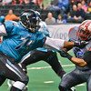 The St. Louis Attack lead the Marion Blue Racers at halftime by the score of 19-9 during a regular season X-League Indoor Football game (XFL) played on 4/24/15 at the Family Arena in St. Charles, MO.