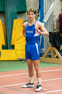 Senior Julio Quiles at the start of the 300. Julio won the event with a time of 37.89. Vermont Division II Indoor Track State Championships - UVM Gutterson Field House - 2/16/2020