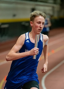 Junior Gabe Praamsma in the first leg of the 4x800 relay. VUHS takes home first place while setting an event record with a time of 8:42.92 in the Boys 4x800 relay. Vermont Division II Indoor Track State Championships - UVM Gutterson Field House - 2/16/2020