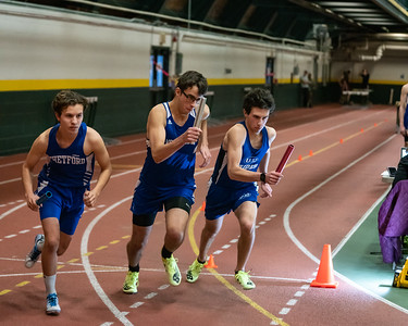 Senior Eric Reitz in the first leg of the 4x800 relay. VUHS takes home first place while setting an event record with a time of 8:42.92 in the Boys 4x800 relay. Vermont Division II Indoor Track State Championships - UVM Gutterson Field House - 2/16/2020/2020