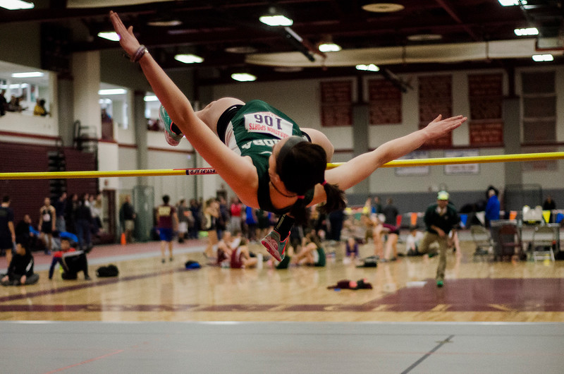 Nashoba's Erin McNemar competes in the high jump during the track meet at Fitchburg High on Saturday, February 11, 2017. SENTINEL & ENTERPRISE / Ashley Green