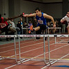 Leominster's Michael Foster competes in the hurdles during the track meet at Fitchburg High on Saturday, February 11, 2017. SENTINEL & ENTERPRISE / Ashley Green