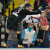 St. Louis Ambush forward GORDY GURSON (3) gives special attention to a young fan after scoring a goal during a regular season Major Arena Soccer League (MASL) game between the St, Louis Ambush and the Wichita B-52's  played at the Family Arena in St. Charles, MO., where Wichita defeats St. Louis by the score of 9-8 in overtime