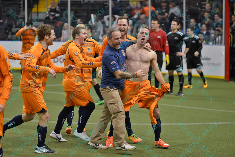 The Wichita team congratulates Wichita B-52s midfielder JOHN MARKEY (10) on his game winning goal during a regular season Major Arena Soccer League (MASL) game between the St, Louis Ambush and the Wichita B-52's  played at the Family Arena in St. Charles, MO., where Wichita defeats St. Louis by the score of 9-8 in overtime
