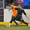 Wichita B-52s midfielder ABEL SEBELE (24) and St. Louis Ambush defender CHAD VANDERGRIFFE (21) battle for the ball during a regular season Major Arena Soccer League (MASL) game between the St, Louis Ambush and the Wichita B-52's  played at the Family Arena in St. Charles, MO., where Wichita defeats St. Louis by the score of 9-8 in overtime