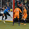 Wichita B-52s goalkeeper BORIS PARDO (27) is able to grab a loose ball before St. Louis Ambush forward BLAKE ORDELL (81) can get a foot on it during a regular season Major Arena Soccer League (MASL) game between the St, Louis Ambush and the Wichita B-52's  played at the Family Arena in St. Charles, MO., where Wichita defeats St. Louis by the score of 9-8 in overtime