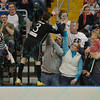 St. Louis Ambush forward GORDY GURSON (3) stands on the wall and celebrates one of his goals with the fans during a regular season Major Arena Soccer League (MASL) game between the St, Louis Ambush and the Wichita B-52's  played at the Family Arena in St. Charles, MO., where Wichita defeats St. Louis by the score of 9-8 in overtime