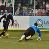 St. Louis Ambush forward GORDY GURSON (3) moves around Wichita B-52s goalkeeper BORIS PARDO (27) during a shootout attempt during a regular season Major Arena Soccer League (MASL) game between the St, Louis Ambush and the Wichita B-52's  played at the Family Arena in St. Charles, MO., where Wichita defeats St. Louis by the score of 9-8 in overtime