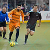Wichita B-52s forward MATT CLARE (99) races down field with the ball while being chased by St. Louis Ambush forward ELVIR KAFEDZIC (9) during a regular season Major Arena Soccer League (MASL) game between the St, Louis Ambush and the Wichita B-52's  played at the Family Arena in St. Charles, MO., where Wichita defeats St. Louis by the score of 9-8 in overtime