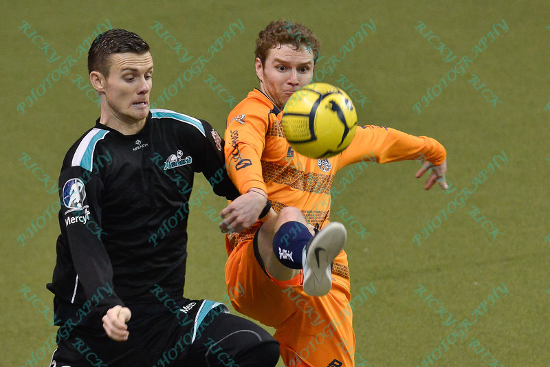 \St. Louis Ambush defender DAVID PAUL (16) and Wichita B-52's ALEX MOSELEY (3) battle for a loose ball during a regular season Major Arena Soccer League (MASL) game between the St, Louis Ambush and the Wichita B-52's  played at the Family Arena in St. Charles, MO., where Wichita defeats St. Louis by the score of 9-8 in overtime