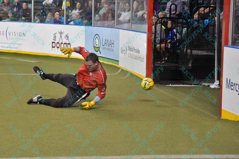 The ball slides under St. Louis Ambush goalkeeper KEVIN CORBY (24) for a goal during a regular season Major Arena Soccer League (MASL) game between the St, Louis Ambush and the Wichita B-52's  played at the Family Arena in St. Charles, MO., where Wichita defeats St. Louis by the score of 9-8 in overtime