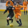 St. Louis Ambush forward COREY ADAMSON (4) and Wichita B-52s defender ANTHONY SCOGNAMILLO (19) battle for the loose ball during a regular season Major Arena Soccer League (MASL) game between the St, Louis Ambush and the Wichita B-52's  played at the Family Arena in St. Charles, MO., where Wichita defeats St. Louis by the score of 9-8 in overtime