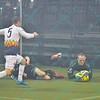 St. Louis Ambush goalie ALAN HAGERTY (0) dives on a loose ball before Tacoma Stars defender DANNY MINNITI (5) can get to it during a regular season Major Arena Soccer League (MASL) game between the St, Louis Ambush and the Tacoma Stars played at the Family Arena in St. Charles, MO., where St. Louis defeats Tacoma by the score of 13-3