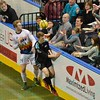 Tacoma Stars forward VINCE MCCLUSKEY (14) and St. Louis Ambush forward ROSS MACGREGOR (77) have the ball bounce off the top of the wall during a regular season Major Arena Soccer League (MASL) game between the St, Louis Ambush and the Tacoma Stars played at the Family Arena in St. Charles, MO., where St. Louis defeats Tacoma by the score of 13-3