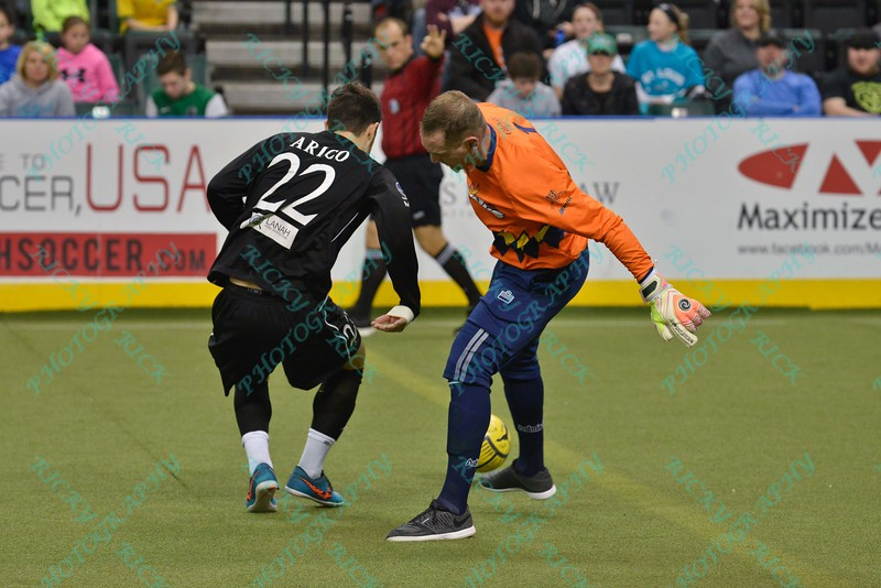 St. Louis Ambush midfielder ANTHONY ARICO (22) steals the ball from Tacoma Stars goalkeeper CHRIS KINTZ (1) for an easy empty net goal during a regular season Major Arena Soccer League (MASL) game between the St, Louis Ambush and the Tacoma Stars played at the Family Arena in St. Charles, MO., where St. Louis defeats Tacoma by the score of 13-3