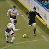 St. Louis Ambush forward ELVIR KAFEDZIC (9) races down the field with the ball while being defended by Tacoma Stars defender TREVOR MCDONALD (8) and Tacoma Stars forward DEREK JOHNSON (9) during a regular season Major Arena Soccer League (MASL) game between the St, Louis Ambush and the Tacoma Stars played at the Family Arena in St. Charles, MO., where St. Louis defeats Tacoma by the score of 13-3