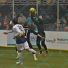 St. Louis Ambush goalie ALAN HAGERTY (0) is able to grab a loose ball thanks to the help of St. Louis Ambush defender CHAD VANDERGRIFFE (21) during a regular season Major Arena Soccer League (MASL) game between the St, Louis Ambush and the Tacoma Stars played at the Family Arena in St. Charles, MO., where St. Louis defeats Tacoma by the score of 13-3