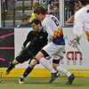 St. Louis Ambush forward GORDY GURSON (3) makes a pass against the defense of Tacoma Stars defender TREVOR MCDONALD (8) during a regular season Major Arena Soccer League (MASL) game between the St, Louis Ambush and the Tacoma Stars played at the Family Arena in St. Charles, MO., where St. Louis defeats Tacoma by the score of 13-3