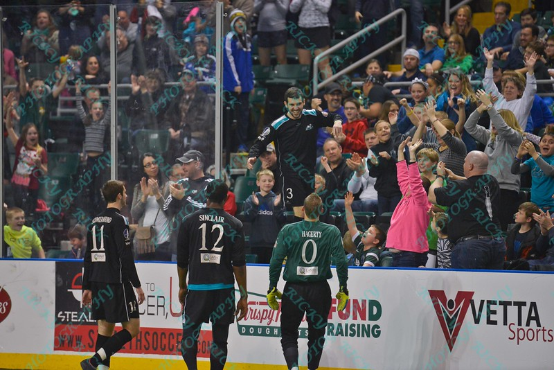 St. Louis Ambush forward GORDY GURSON (3) walks the boards after celebrating his goal during a regular season Major Arena Soccer League (MASL) game between the St, Louis Ambush and the Tacoma Stars played at the Family Arena in St. Charles, MO., where St. Louis defeats Tacoma by the score of 13-3