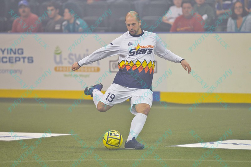 Tacoma Stars defender PJ VARGAS (19) fires the ball down field  during a regular season Major Arena Soccer League (MASL) game between the St, Louis Ambush and the Tacoma Stars played at the Family Arena in St. Charles, MO., where St. Louis defeats Tacoma by the score of 13-3