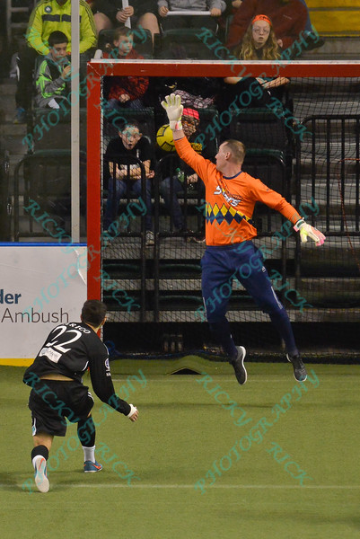 St. Louis Ambush midfielder ANTHONY ARICO (22) fires the ball past Tacoma Stars goalkeeper CHRIS KINTZ (1) for a goal during a regular season Major Arena Soccer League (MASL) game between the St, Louis Ambush and the Tacoma Stars played at the Family Arena in St. Charles, MO., where St. Louis defeats Tacoma by the score of 13-3