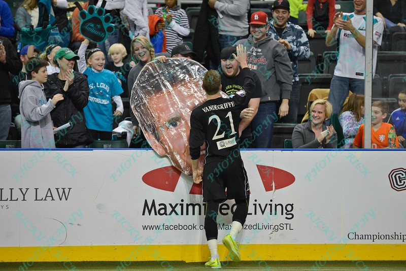 St. Louis Ambush defender CHAD VANDERGRIFFE (21) celebrates with fans and his fat head during a regular season Major Arena Soccer League (MASL) game between the St, Louis Ambush and the Tacoma Stars played at the Family Arena in St. Charles, MO., where St. Louis defeats Tacoma by the score of 13-3