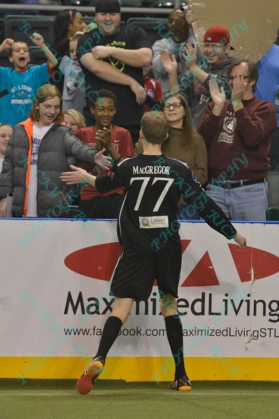 St. Louis Ambush forward ROSS MACGREGOR (77) celebrates his goal with the fans during a regular season Major Arena Soccer League (MASL) game between the St, Louis Ambush and the Tacoma Stars played at the Family Arena in St. Charles, MO., where St. Louis defeats Tacoma by the score of 13-3