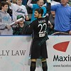 St. Louis Ambush midfielder ANTHONY ARICO (22) celebrates his goal with fans during a regular season Major Arena Soccer League (MASL) game between the St, Louis Ambush and the Tacoma Stars played at the Family Arena in St. Charles, MO., where St. Louis defeats Tacoma by the score of 13-3