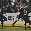 St. Louis Ambush forward ROSS MACGREGOR (77) celebrates his goal with St. Louis Ambush defender RICHARD SCHMERMUND (11) during a regular season Major Arena Soccer League (MASL) game between the St, Louis Ambush and the Tacoma Stars played at the Family Arena in St. Charles, MO., where St. Louis defeats Tacoma by the score of 13-3