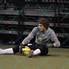 Missouri Comets goalkeeper DANNY WALTMAN (24) takes a seat and grabs a loose ball after making a diving save during a regular season Major Arena Soccer League (MASL) game between the St, Louis Ambush and the Missouri Comets played at the Family Arena in St. Charles, MO., where Missouri Comets defeat St. Louis by the score of 10-5