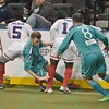 St. Louis Ambush forward ROSS MACGREGOR (77), St. Louis Ambush midfielder JEFF DIMARIA (8), Missouri Comets forward RAMONE PALMER (5)  and Missouri Comets forward LEO GIBSON (14) all battle for a loose ball along the boards during a regular season Major Arena Soccer League (MASL) game between the St, Louis Ambush and the Missouri Comets played at the Family Arena in St. Charles, MO., where Missouri Comets defeat St. Louis by the score of 10-5