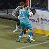 St. Louis Ambush defender RICHARD SCHMERMUND (11) and Missouri Comets goalkeeper DANNY WALTMAN (24) battle for the ball during a regular season Major Arena Soccer League (MASL) game between the St, Louis Ambush and the Missouri Comets played at the Family Arena in St. Charles, MO., where Missouri Comets defeat St. Louis by the score of 10-5