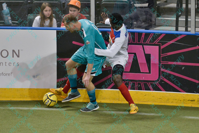 St. Louis Ambush forward BLAKE ORDELL (81) battles with Missouri Comets defender ALAIN MATINGOU (4) during a regular season Major Arena Soccer League (MASL) game between the St, Louis Ambush and the Missouri Comets played at the Family Arena in St. Charles, MO., where Missouri Comets defeat St. Louis by the score of 10-5