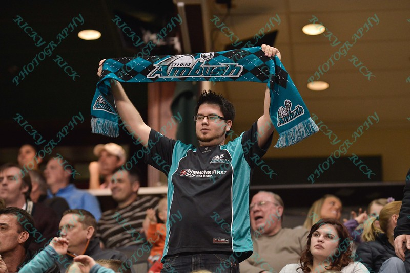 A St. Louis Ambush fan shows his support by holding up a team scarf during a regular season Major Arena Soccer League (MASL) game between the St, Louis Ambush and the Missouri Comets played at the Family Arena in St. Charles, MO., where Missouri Comets defeat St. Louis by the score of 10-5