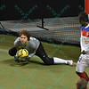 Missouri Comets goalkeeper DANNY WALTMAN (24) makes a save during a regular season Major Arena Soccer League (MASL) game between the St, Louis Ambush and the Missouri Comets played at the Family Arena in St. Charles, MO., where Missouri Comets defeat St. Louis by the score of 10-5