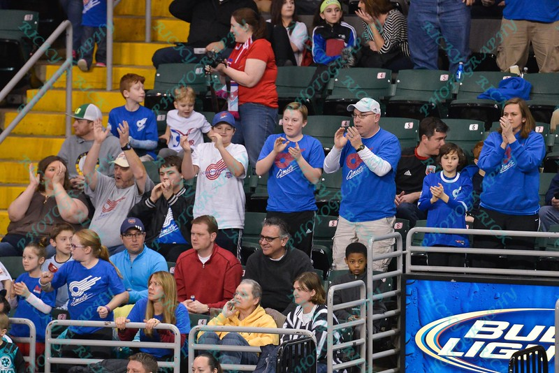 Missouri Comet fans who made the trip to St. Louis celebrate a goal during a regular season Major Arena Soccer League (MASL) game between the St, Louis Ambush and the Missouri Comets played at the Family Arena in St. Charles, MO., where Missouri Comets defeat St. Louis by the score of 10-5