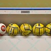 Extra soccer balls are lined up along the inside of the boards during a regular season Major Arena Soccer League (MASL) game between the St, Louis Ambush and the Missouri Comets played at the Family Arena in St. Charles, MO., where Missouri Comets defeat St. Louis by the score of 10-5