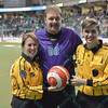 Former Ambush goalie Jamie Swanner poses with his son and wife who all participated in the Alumni game during a regular season Major Arena Soccer League (MASL) game between the St, Louis Ambush and the Missouri Comets played at the Family Arena in St. Charles, MO., where Missouri Comets defeat St. Louis by the score of 10-5