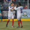 Missouri Comets midfielder VAHID ASSADPOUR (7) and Missouri Comets forward RAMONE PALMER (5)  celebrate a goal during a regular season Major Arena Soccer League (MASL) game between the St, Louis Ambush and the Missouri Comets played at the Family Arena in St. Charles, MO., where Missouri Comets defeat St. Louis by the score of 10-5
